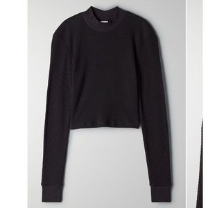 Aritzia TNA Long Sleeve Waffle Crop Top Black
